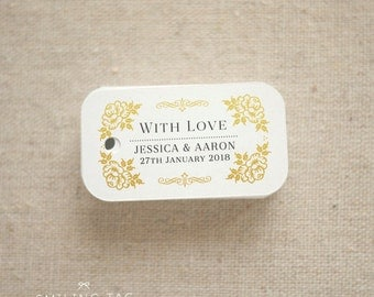 Gold Vintage Floral Wedding Favor Tags - Rustic Personalized Gift Tags - Bridal Shower Favor Tags - Custom Tag- Set of 40 (Item code: J601)