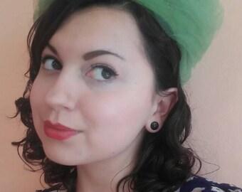 Vintage Green Tulle Hat