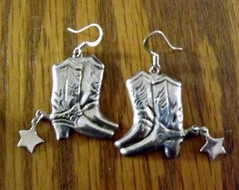 Large, Sterling Silver Cowboy Boot Earrings, pierced post,  Cowboy, Western, Urban Cowboy, Vintage, Silver, Horse, Equestrian, Southwestern