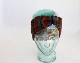 CLEARANCE SALE - Knit Earwarmer/Headband - Brown, Black and Gray Wool Yarn