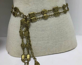 Vintage Boho Chain Belt in Brass ~ Adjustable