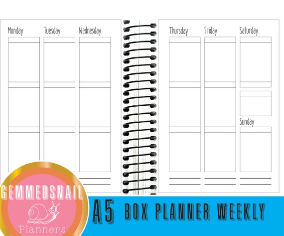 A5 Planner inserts. Box planner weekly printable planner inserts ...
