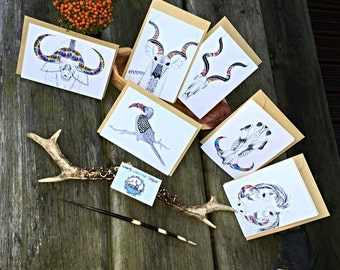 Set of 4 greeting cards | Wild Africa Series | African Animal | Blank Cards | Animal Cards |