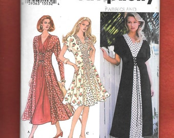 Vintage 1994 Simplicity 9046 Misses' Dress, With Raglan Sleeves, Long Or Short, Gathered Tied Front Waist, And Inset,Sizes 18, 20, 22, UNCUT