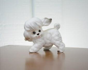 Josef Originals White Poodle or Maltese Puppy Figurine