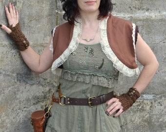 Steampunk sleeveless lace edged Bolero Boho Burning Man vest