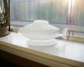Antique Satin Glass Fish Dish Circa 1880s Central Glass Co EAPG