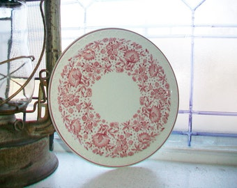 3 Syracuse China Luncheon Plates Roxbury Red Vintage Restaurant Ware