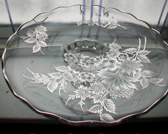 Vintage Cambridge Glass Cake Stand Silver Overlay Floral Harp Pedestal