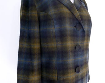 60's Mod Pendleton Plaid Jacket Classic Cropped Wool Blazer L