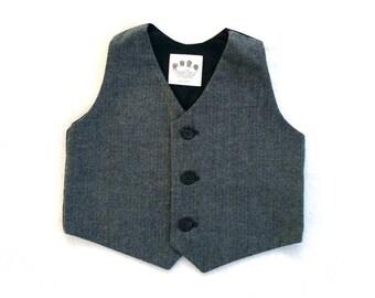 Boys Vest, Toddler Boys Vest, Gray Ring Bearer, Charcoal Vest, Herringbone Vest, Baby Boy Vest, Little Boys Vest, Ring Bearer
