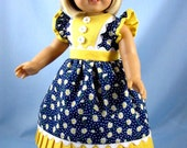 Doll Clothes American Girl - 18 Inch Doll Clothes - Blue and Yellow Daisies - Doll Dress and Hair Bow