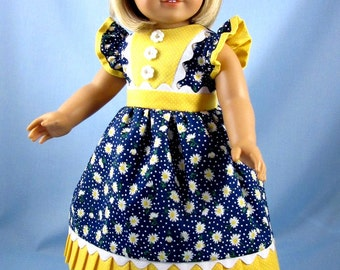 Doll Clothes 18 Inch - fits American Girl - 18 Inch Doll Clothes - Blue and Yellow Daisies - Doll Dress and Hair Bow