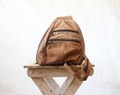 80's Damaged Vintage Rustic Bomber Leather Over the Shoulder Tote- See Details