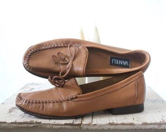 Vintage 80's Caramel Leather Brazilian Loafers 7.5