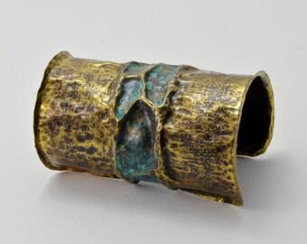 Artistic fold-formed hammered Nu Gold cuff bracelet.