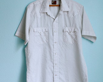 vintage 70s Western snap button shirt / white grey pinstripes / silky lightweight / mens large
