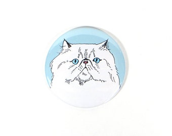 Persian cat magnet - persian cat gift - white persian cat illustration - pretty longhaired cat gift - long haired cat gift - strong magnet