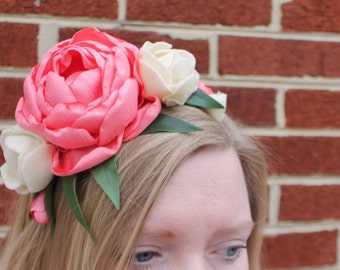 Woodland romantic ivory and coral peony and ranunculus flower crown headband. fits women and children.