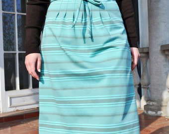 Vintage Aqua and Taupe Striped Knit A Line Midi Skirt Size Large