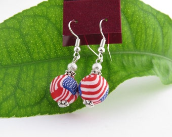USA Flag Earrings, artisan earrings,  Star Earrings, Artisan jewelry, 4rth of july earring, Flag jewelry, Independence day, handcrafted.