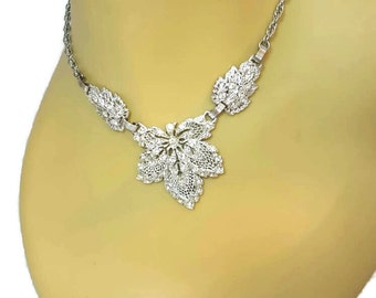 Rhinestone Choker Necklace Fall Wedding Jewelry Bridal Jewelry Something old Victorian Necklace Silver Leaves Adjustable Choker
