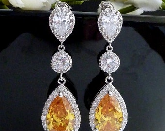 Wedding Bridal Earring LARGE Halo Dark Citrine Peardrop Cubic Zirconia with Round CZ White Gold Plated  CZ Post Earrings