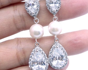 Crystal Pearl Bridal Earrings Silver Cubic Zirconia Posts Pearl Bridal Jewelry Wedding Jewelry Wedding Pearl Earrings