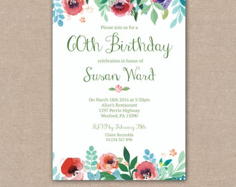 Birthday Party Invitation 30th, 40th, 50th, 60th, 70th, 80th, 90th, 100th, Watercolour Flowers Floral Vintage, Printable Digital file