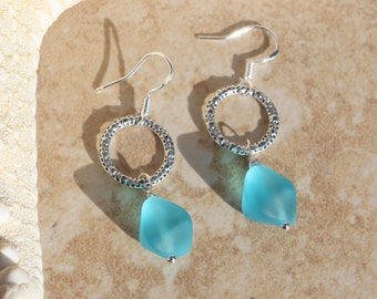 Silver Circle Dangle Earrings, with Frosted aqua sea glass Drops, Petite Silver earrings, Jewelry gifts, Inarajewels