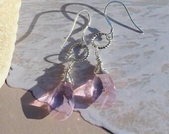 Teardrop Dangle Earrings, Lavender Earrings, Silver Earrings, Crystal Earrings, Inarajewels, Jewelry Gifts