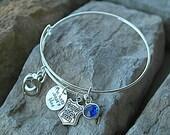 Police Wife Bracelet - Police Bracelet - Police Girlfriend Bracelet - My Hero Wears Blue - Police Jewelry - Cop Bracelet - Handcuffs