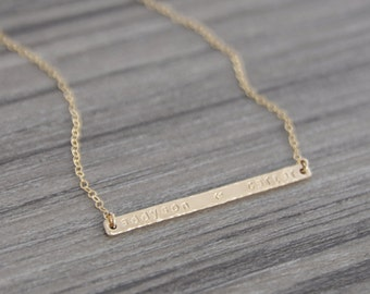 Personalized Gold Bar Necklace - Thin Gold Bar Name Necklace - Skinny Gold Name Necklace