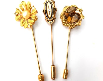 Vintage Set of Three Stick Pins - Gold Tone Pearl Rhinestone Flower- Tiger's Eye Gemstone - Cameo - Hat Hair Lapel Scarf Pin - Avon