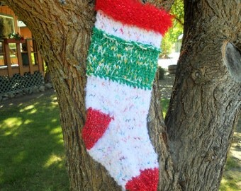 Red and Green Confetti Hand Knit Christmas Stocking