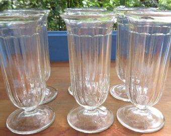 Beautiful Set of Six Parfait Glasses/Vintage Footed Sherbet Glasses/Potato Bar/Dessert Parfait Stemware