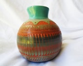 Signed Southwestern Decorative Pot Hand Painted Carved Clay