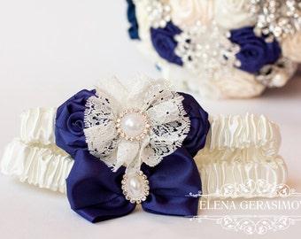 Wedding garter set, Bridal Garter, Crystal Garter, Rhinestone Garter, Toss Garter, ivory navy blue