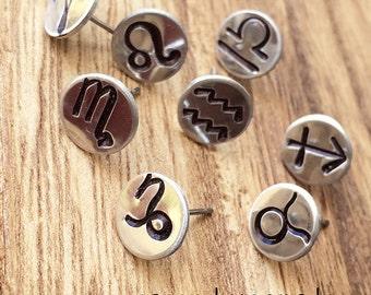 Zodiac Horoscope Earrings / Hand Stamp Stainless Steel Earrings / Dainty Studs / Silver Earrings / Personalized Zodiac Jewelry