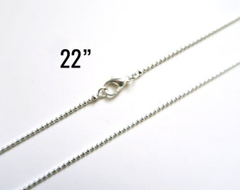 """4 Silver 1.5mm Ball Chain Necklaces - WHOLESALE - 22"""" - Silver Plated - Ships IMMEDIATELY from California - CH677"""
