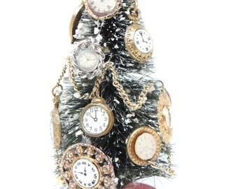 Vintage 1950's Bottle Brush Christmas Tree, Decorated with Clocks