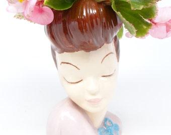 Vintage 1950's Head Pottery Vase