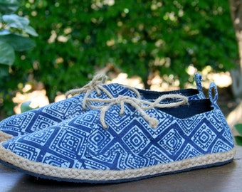 Vegan Womens Shoes, Lace Up Sneaker Oxfords In Hmong Indigo Batik - Maddie