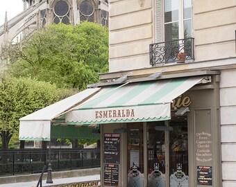 Paris Cafe Photograph, Esmeralda, Large Wall Art, French Kitchen Decor, Fine Art Travel Photograph