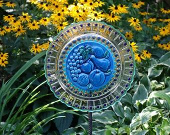 Hand painted Glass Yard Art, Outdoor Art Sun Catcher, Glass Garden Art, Home Décor with recycled glassware