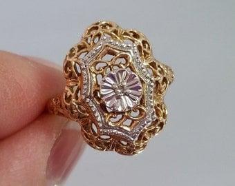 Antique 10K Diamond Filigree StarCraft Ring