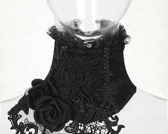 black choker flower choker Gothic Asymmetric Collar Gothic collar