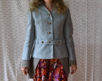 60's Powder Blue Tweed Wool Jacket / Field's / Autumn Sky Jacket