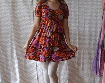 Floral Velour 70's Mini Dress / Cranberry Clove Dress