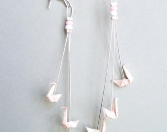 Light pink and white Triple Swan Origami Earrings
